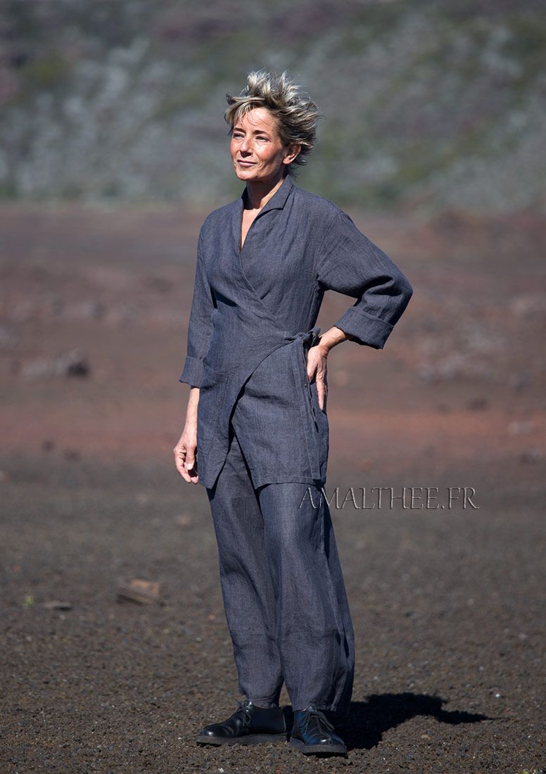 Ensemble printemps été  veste et pantalon en lin gris ardoise- - AMALTHEE  CREATIONS a63d24b6eaf5