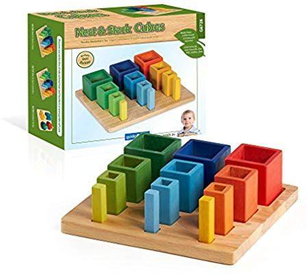 Amazon.com: Guidecraft Nest & Stack Cubes - Wooden Multi ...