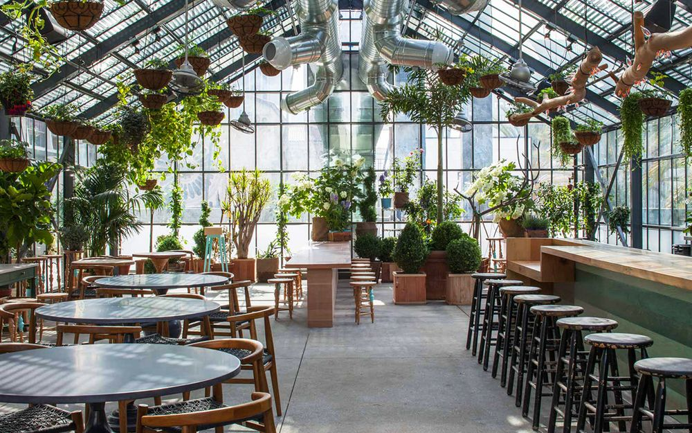 La S Koreatown Greenhouse The Line Hotel S Commissary Restaurant Knstrct Greenhouse Cafe Greenhouse Outdoor Pool