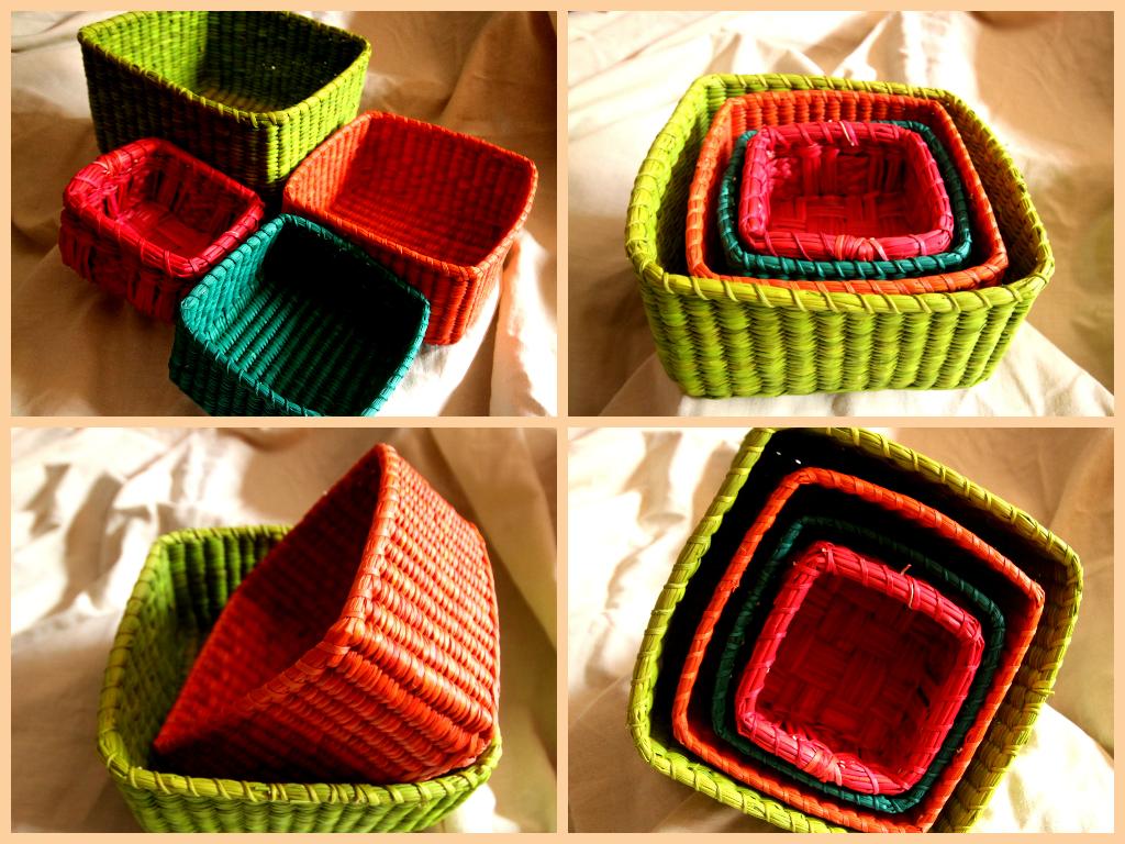 Colorful Wicker Basket Set