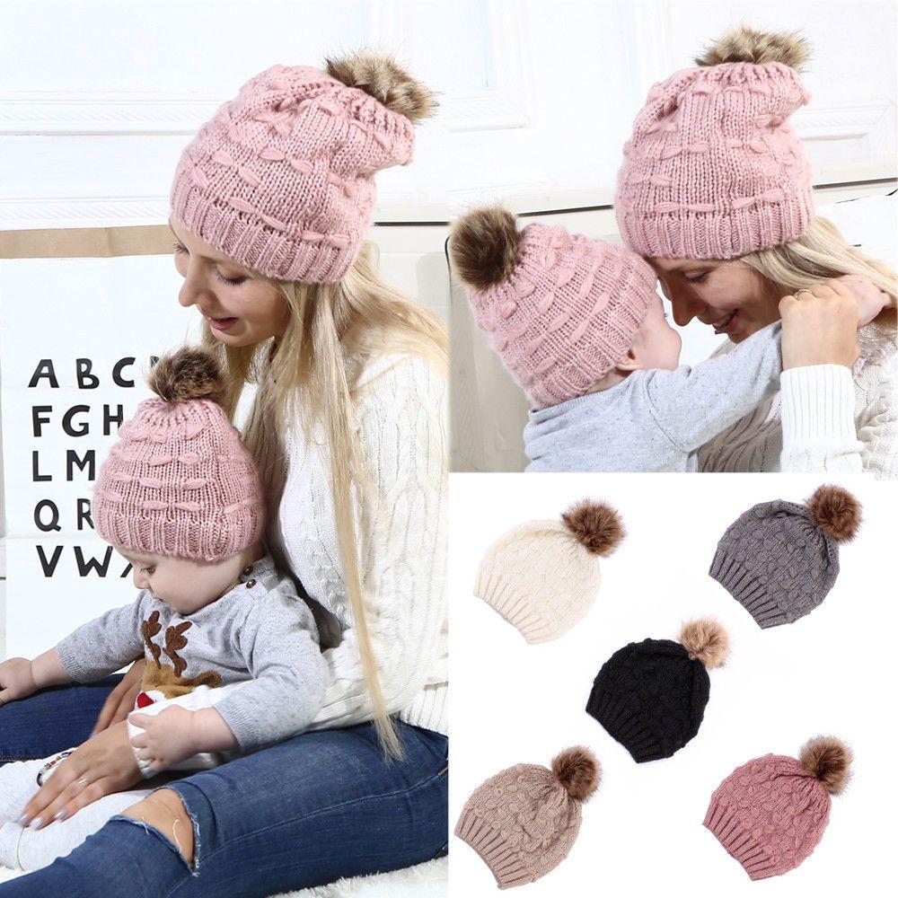 4049485a5f8 Mother   Child Baby Warm Winter Knit Beanie Fur Pom Pom Hat Crochet Ski Caps -