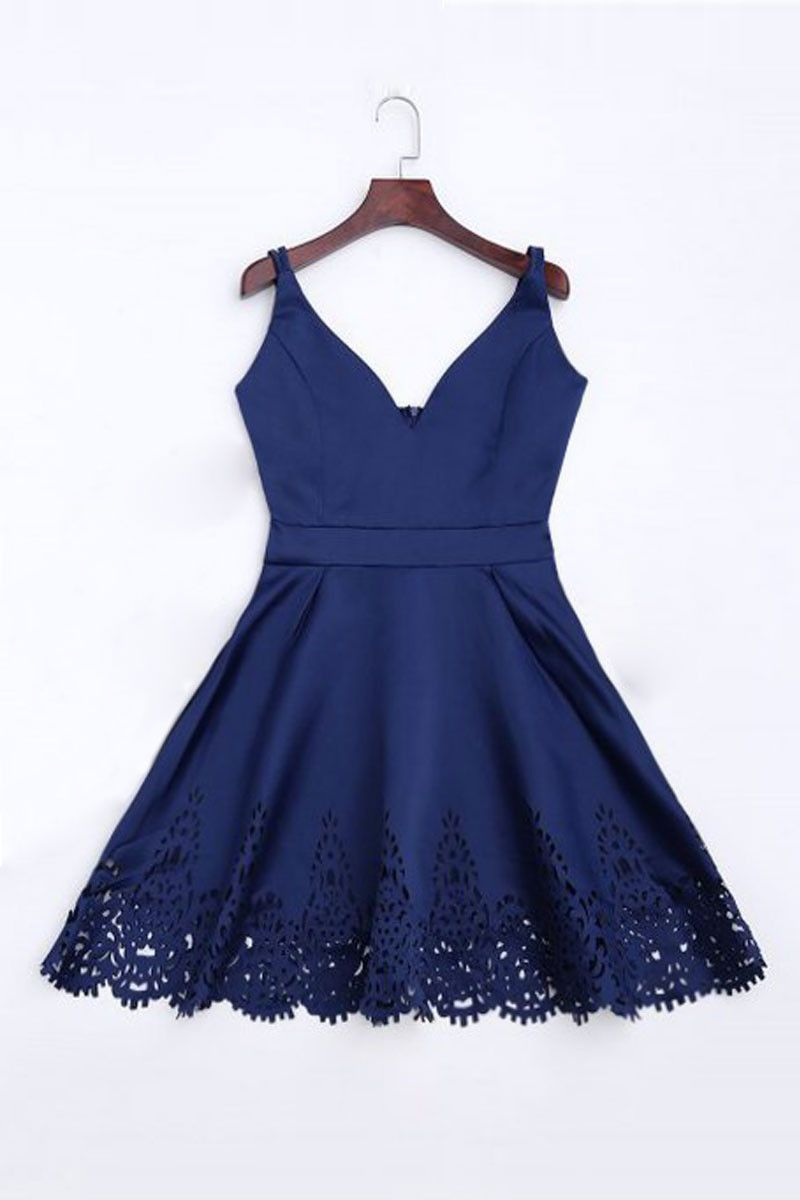 Simple dark blue short prom dress cute homecoming dress Pretty