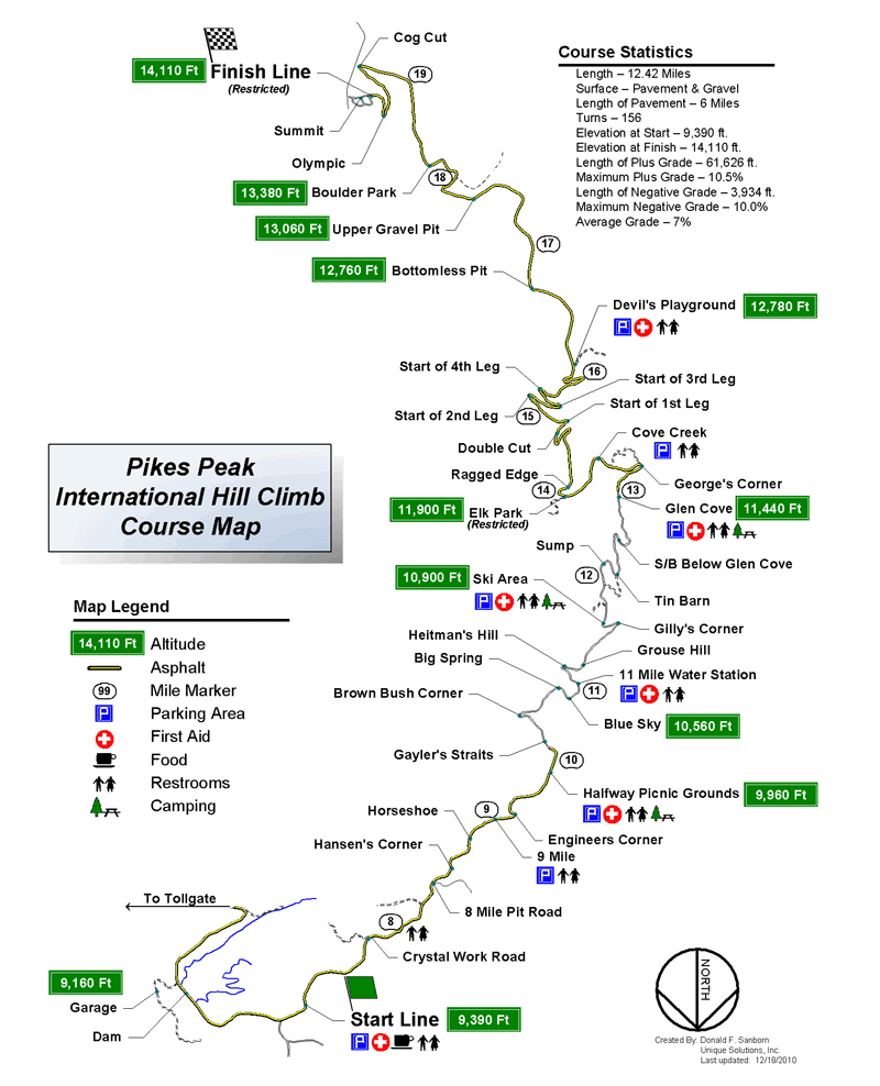 Pikes Peak International Hill Climb Course Map