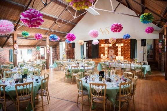 Colorful And Fun Wedding Reception Decoration Idea Use Hanging Tissue Paper Pom Marquee Village Hall