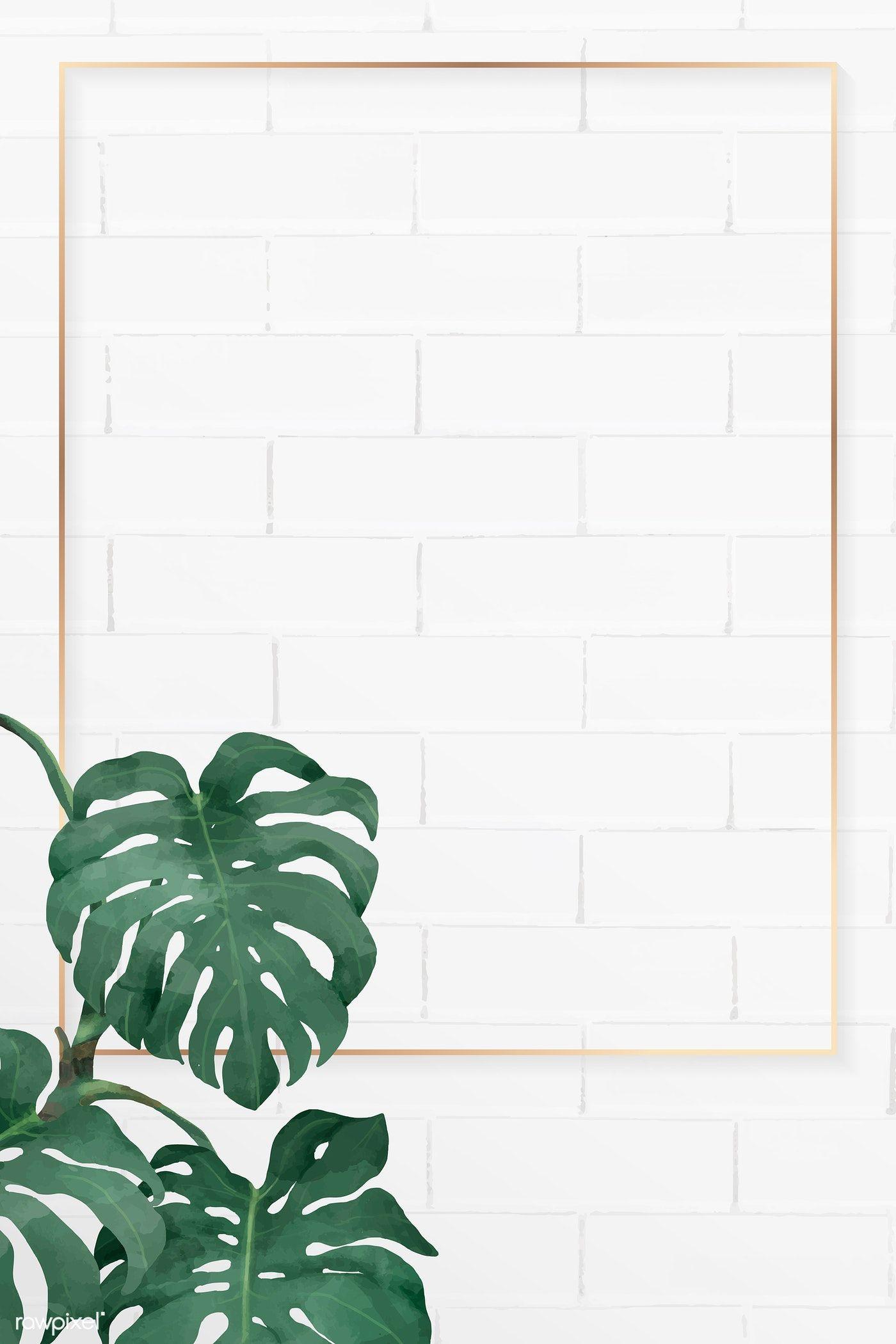 Download premium vector of Blank rectangle monstera frame