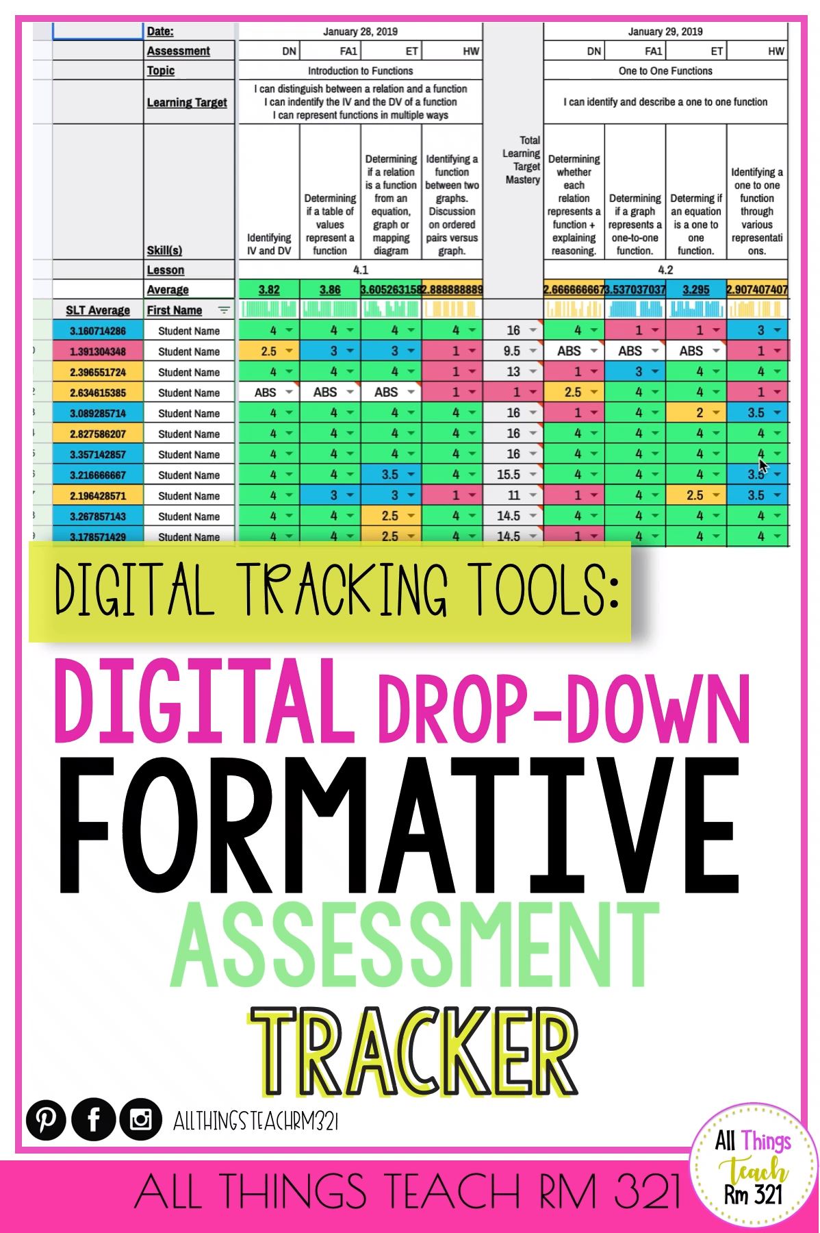 Photo of Digital Tracker with DROP DOWN Menu! ANY Grade ANY Class! EASY & QUICK!