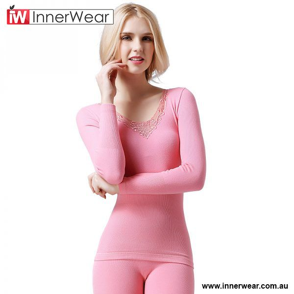944b6781bfd4 Warm Section Thermal Underwear Winter Women Lace Solid Wood Dyer ...