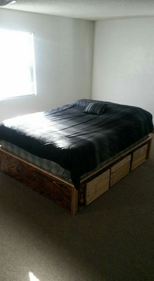 The Bed All Put Together With Box Spring And Mattress On Top Diy