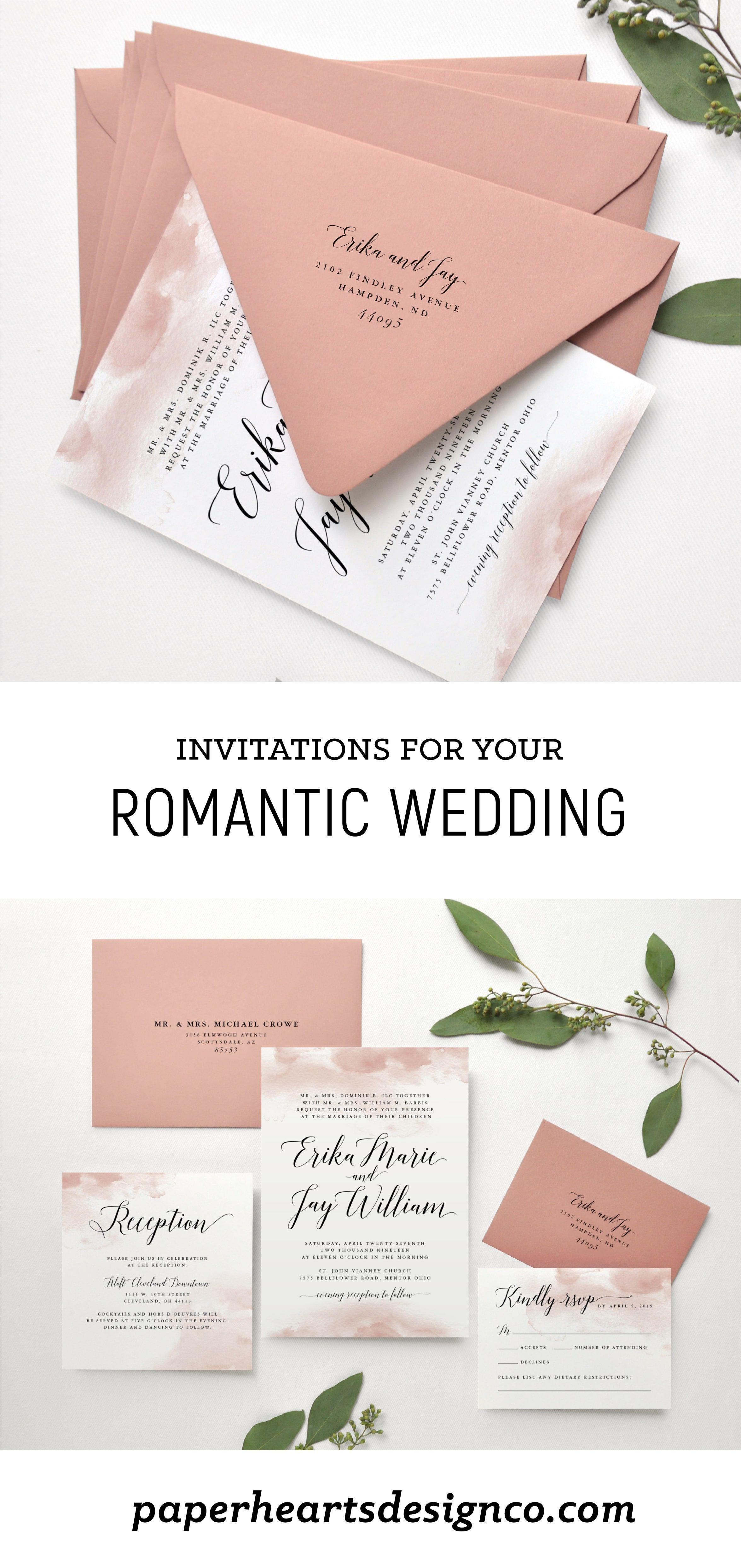 Romantic Watercolor Wedding Invitation By Paper Hearts Design Co Luxury Wedding Wedding Invitations Wedding Invitations Romantic Rose Wedding Invitations