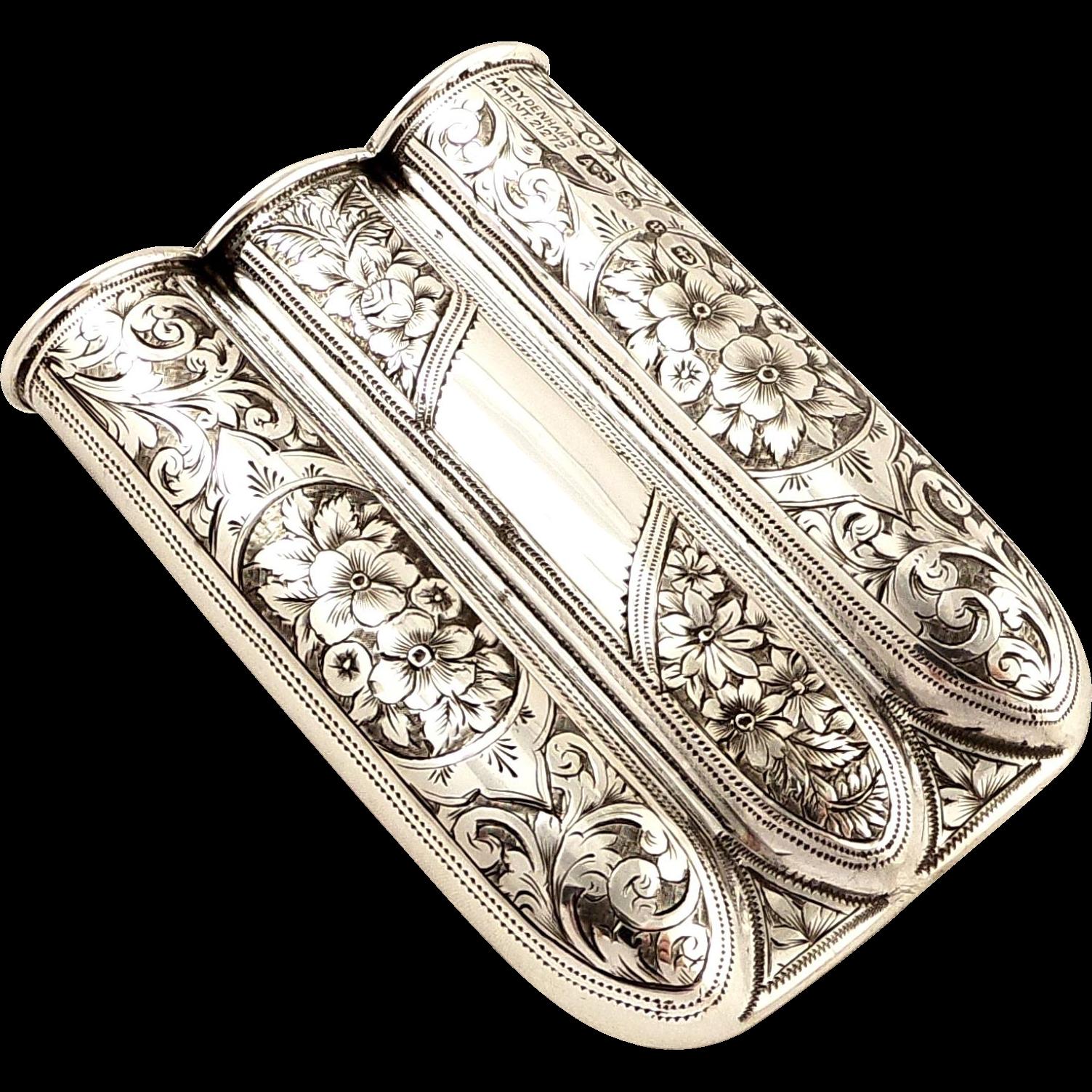 30316e46acfd Antique Victorian Sterling Silver Cigar Case 1894 - Sydenhams Patent ...