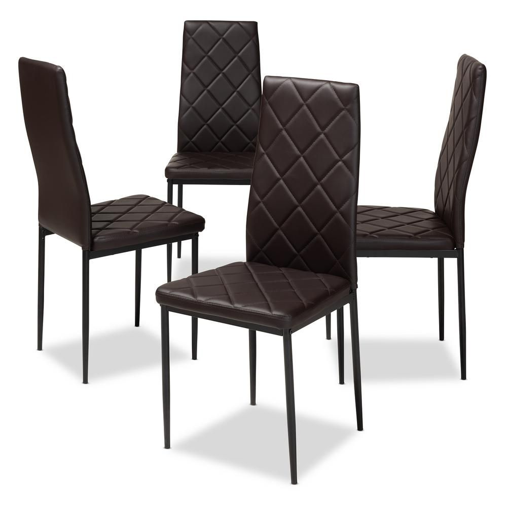 Baxton Studio Blaise Dark Brown Faux Leather Upholstered ...