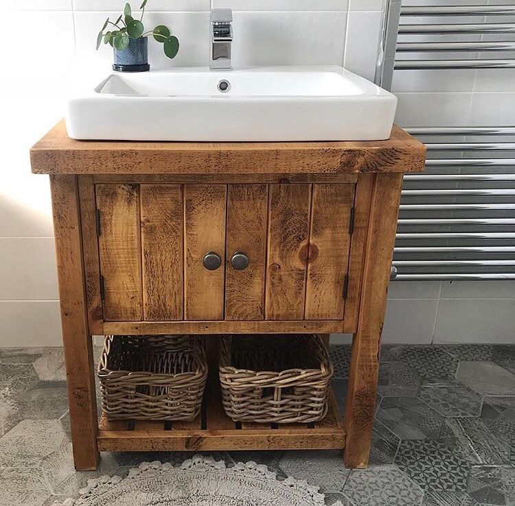 Rustic Chunky Wood Vanity Unit