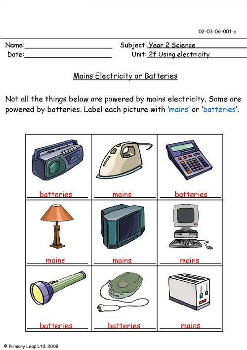 PrimaryLeap.co.uk - Mains electricity or batteries Worksheet ...