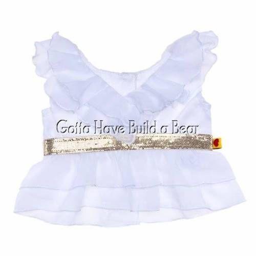 18be6df65 Build a Bear Fancy White Ruffled Chiffon Blouse Shirt Shiny Gold Belt NWT