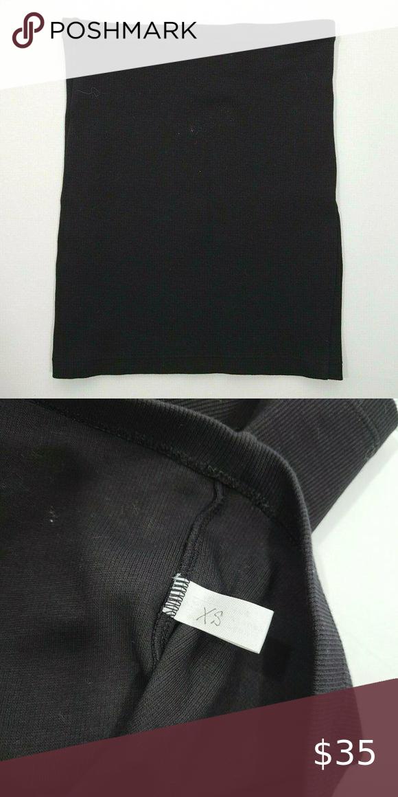 INAMORATA Black Ribbed Bedford Mini Skirt