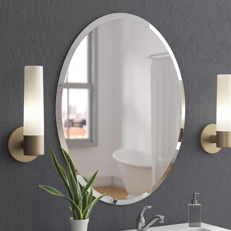 Callison Oval Bevel Frameless Wall Mirror in 2020 Oval
