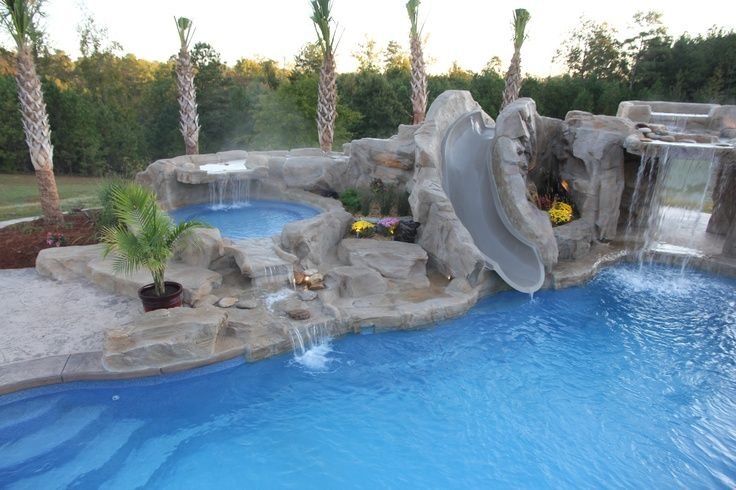fiberglass pool with rico rock waterfalls kiddie pool built in rock slide