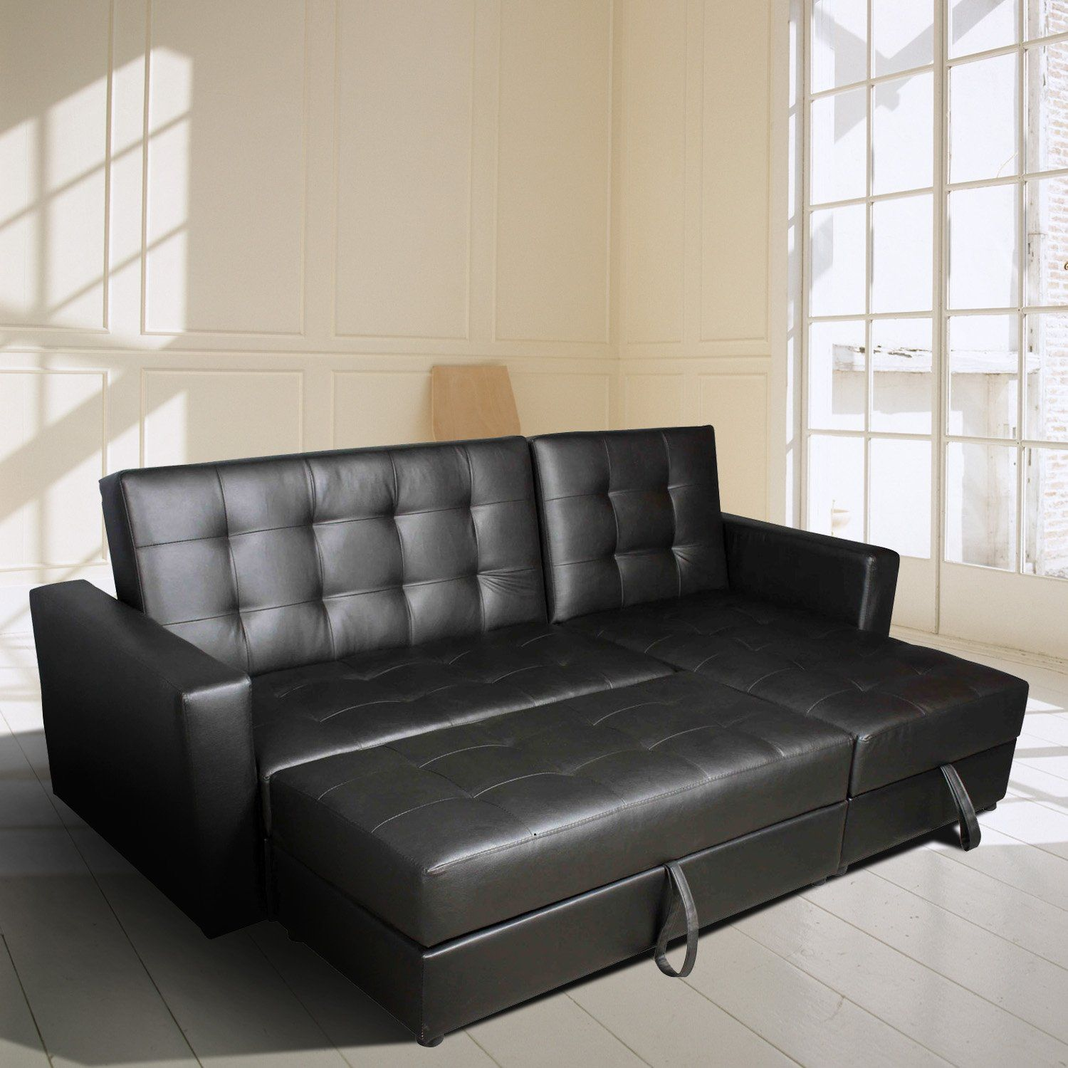 Hom Button Tufted Sofa Bed Set Sectional Daybed Storage Box