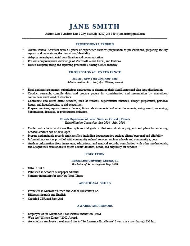 Sample Profile Summary For Resume Resume Template Trump Dark Blue  Resumes  Pinterest  Template And .