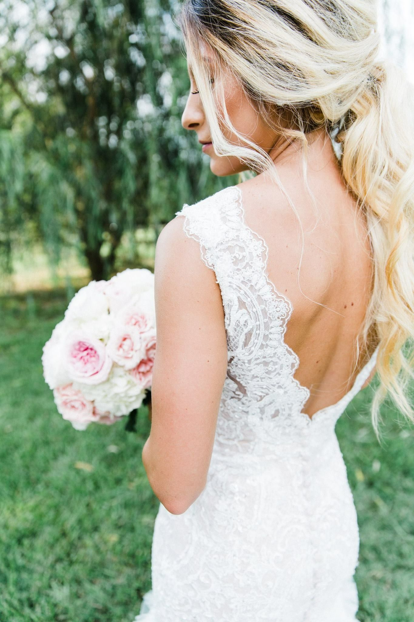 Bridal ponytail hairstyle wedding lace with images
