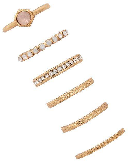 FOREVER 21 Faux Stone Classic Ring Set