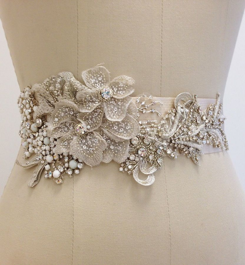 Flower Belts For Wedding Dresses: Beaded Bridal Sash With Floral Motif