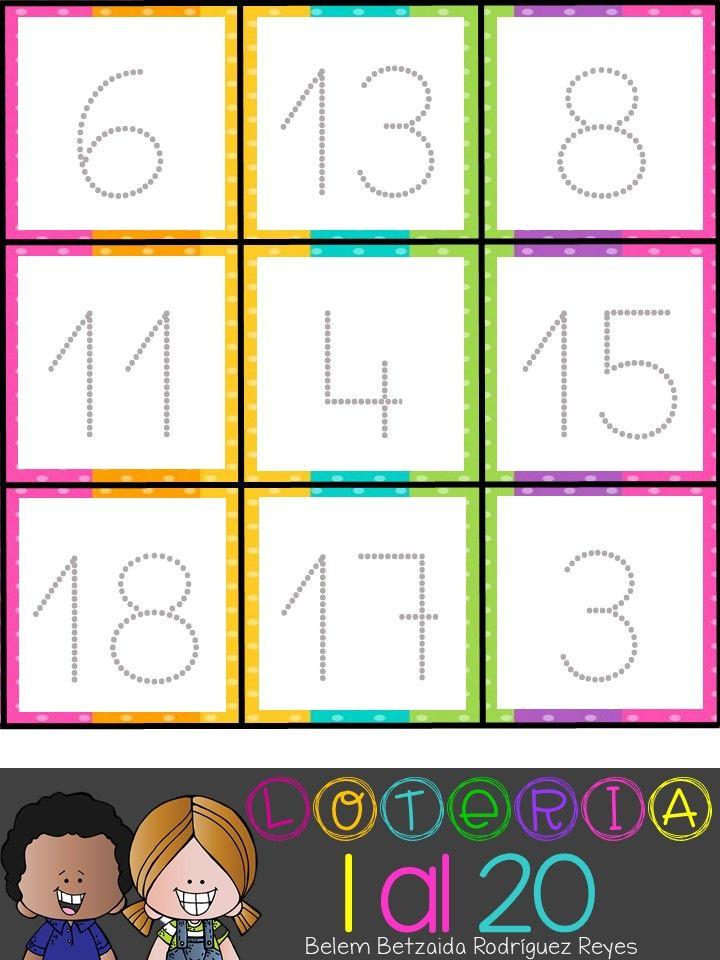 Loteria De Numeros Del 1 Al 20 Loterias Para Ninos Matematicas Para Ninos Actividades De Matematicas Preescolares