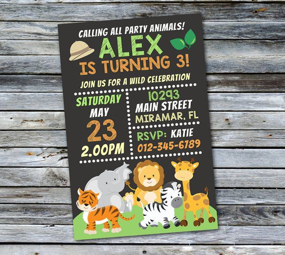 Jungle Invitation Safari Birthday Invitation Jungle Birthday
