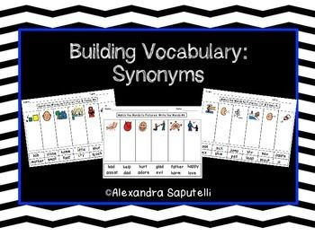 Building Vocabulary: Synonyms!  Matching words to pictures!
