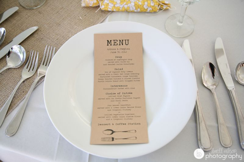 kraft wedding menu diy surprise pinterest boston area