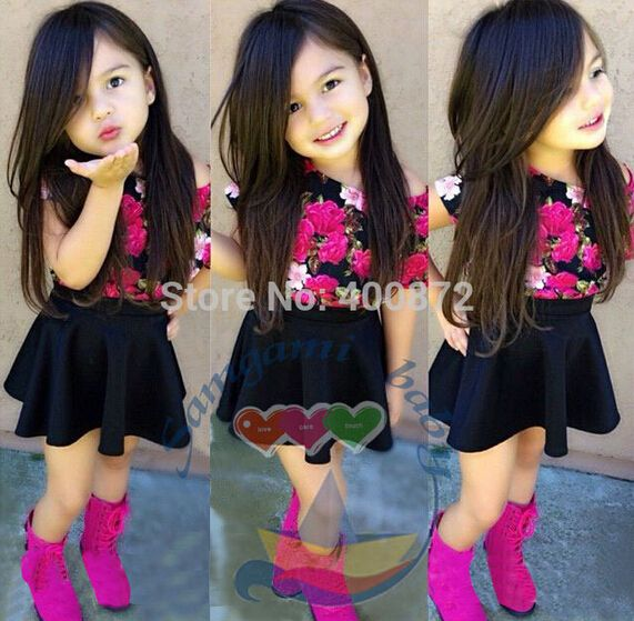 $6.00 (Buy here: http://appdeal.ru/8vu6 ) SQ201 Free shipping 2015 new arrival fashion girls T-shirt + skirt suit flower color skirt suit kids dress children dress retail for just $6.00