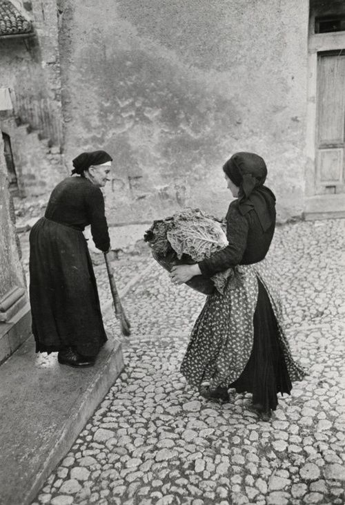 In this photo by henri cartier bresson I saw texture on the ground. Created by the cobblestone.