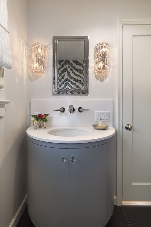 Contemporary Gray Bathroom Design With Polished Nickel Inset Medicine Cabinet Flanked My Glam Crystal Sconces