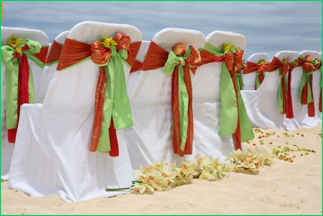 perfect seating with cymbidium orchids and orange lime green sashes