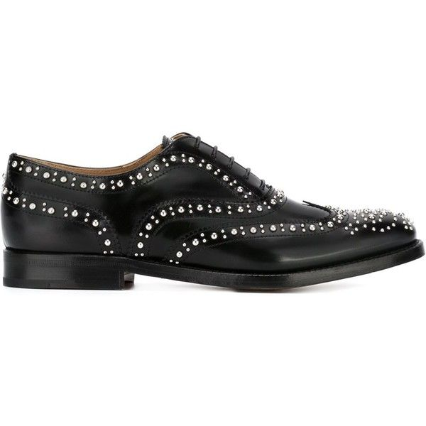 4a358508d3 Church's Studded Brogue Shoes ($625) ❤ liked on Polyvore featuring shoes,  oxfords, black, black studded shoes, kohl shoes, black brogues, black  oxford ...