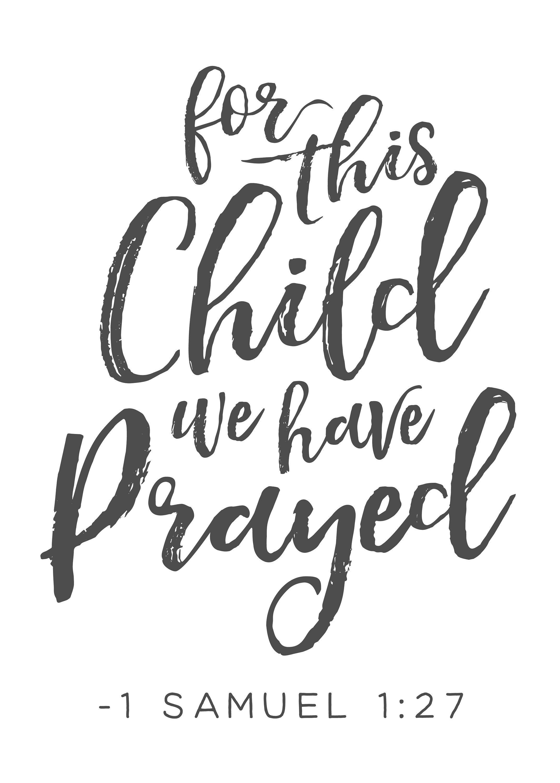 c643a76f4 1 SAMUEL 1:27, For This Child We have Prayed, Bible Verse, Scripture Art,  Kids Room Decor, Nursery Wall Art, Printable Nursery Bible Verse