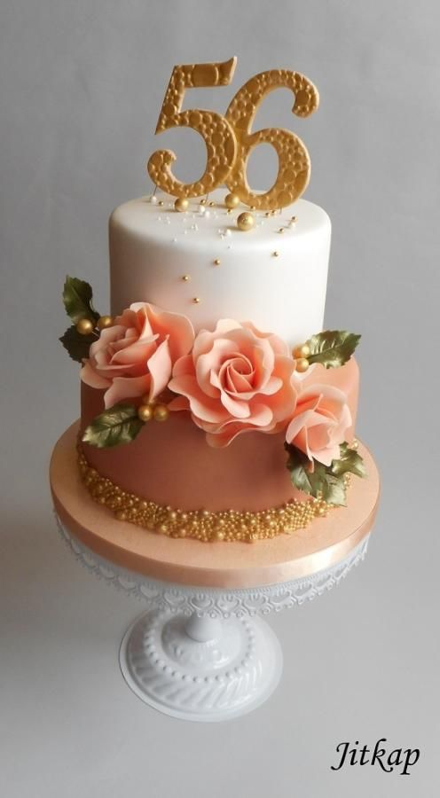 Birthday Cake With Roses By Jitkap Flower Cakes