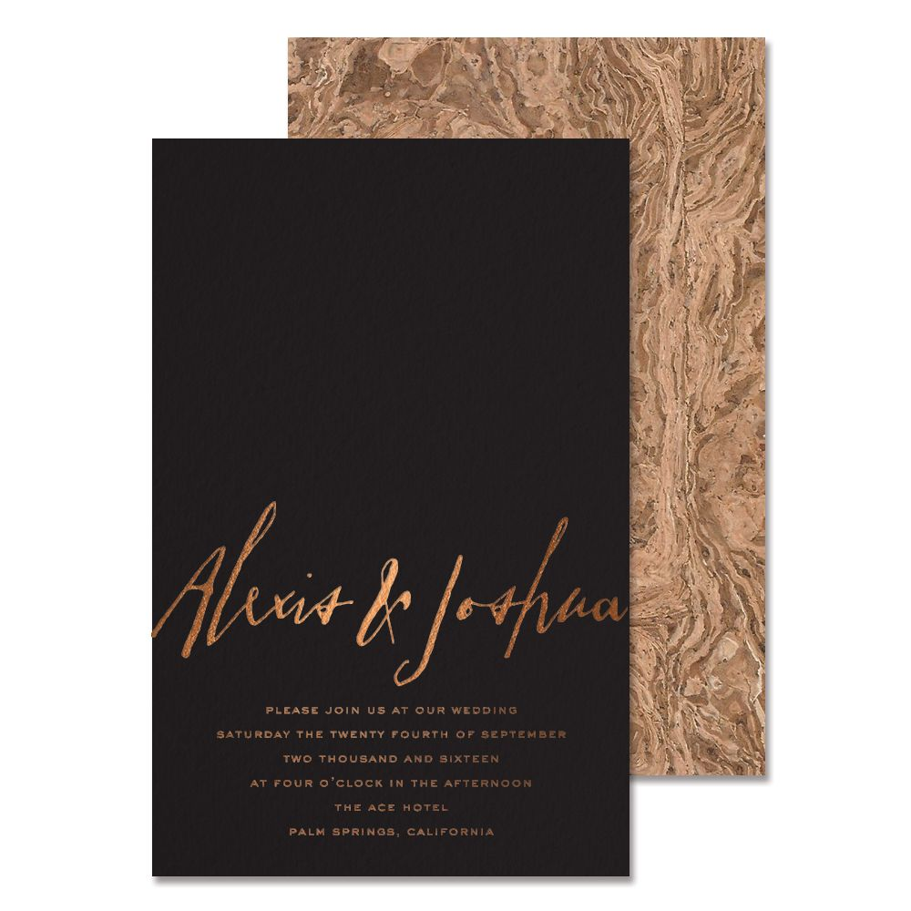 funny wedding invitation mail%0A The Burlwood Suite   Copper Foil Wedding Invitations   Corkskin Wedding  Invitations   Modern Wedding Invitations