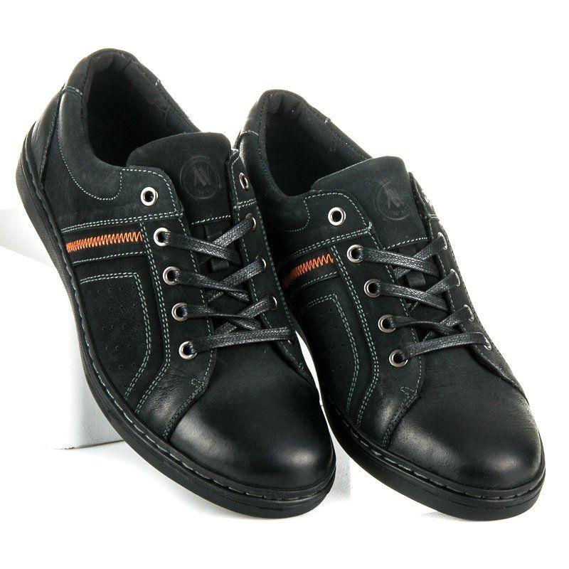 Sportowe Meskie Newage Czarne Skorzane Trampki New Age Dress Shoes Men Shoes Mens Oxford Shoes