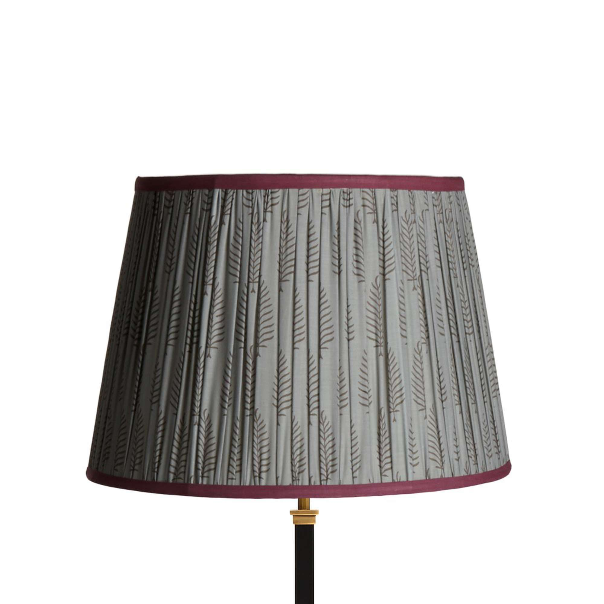 40cm straight empire lampshade in balinese ferns block printed cotton with pinky purple tape