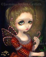 Candy Cane Angel christmas fairy CUTE art CANVAS PRINT