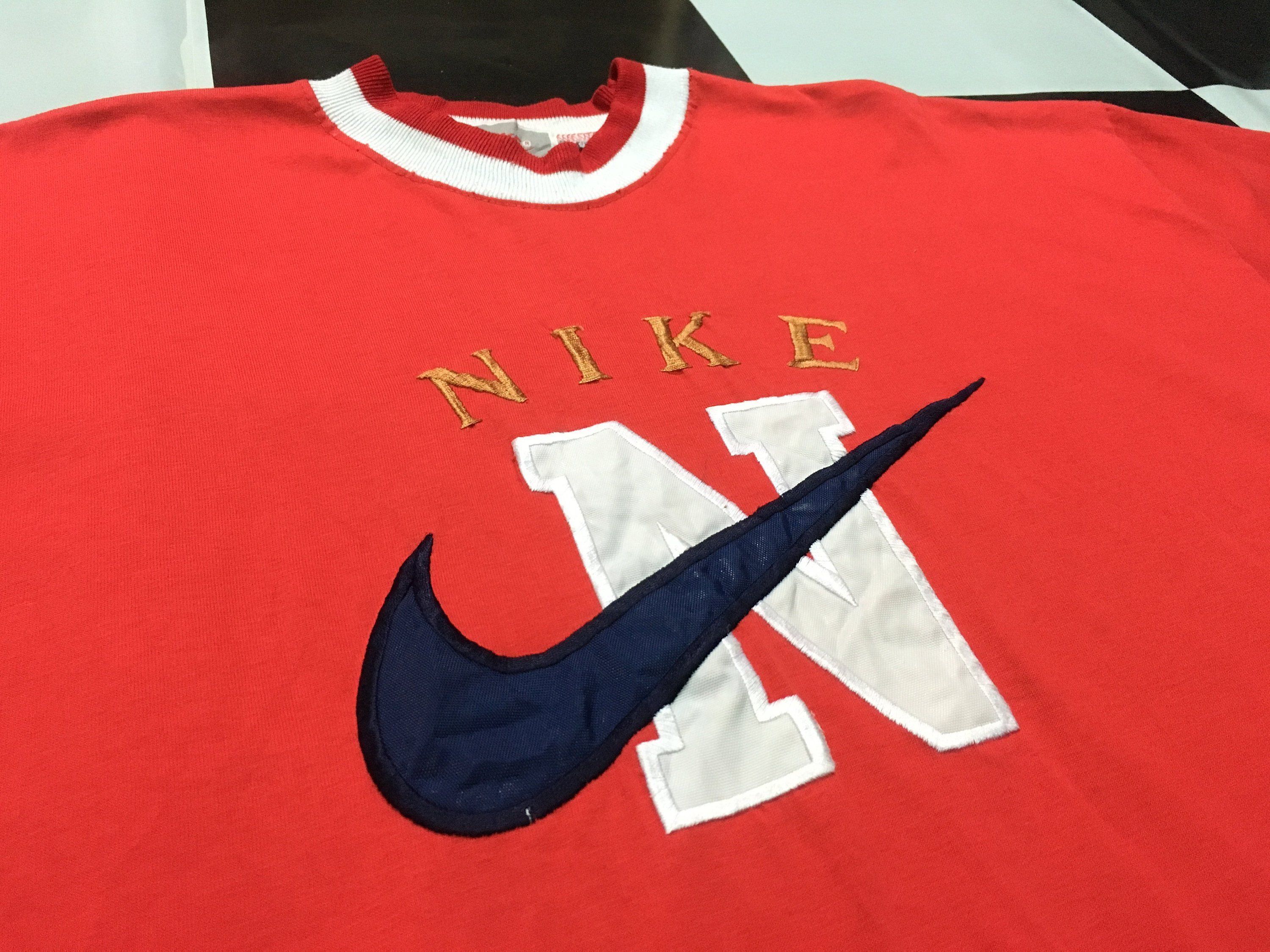 6dc0dfe5 Vintage Nike shirt Nike big swoosh embroidered logo Size XL RED 90s Nike  gray tag by AlivevintageShop on Etsy