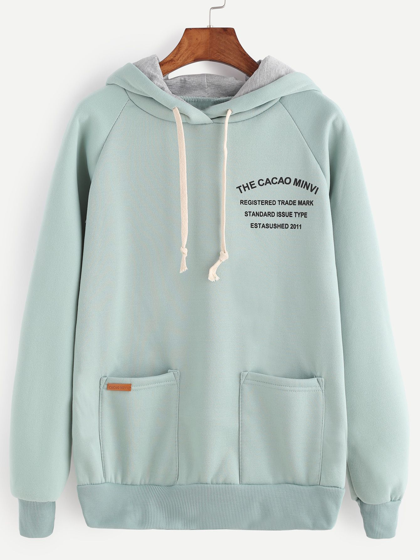 Shop Pale Green Letter Print Raglan Sleeve Drawstring Hooded Sweatshirt online. SheIn offers Pale Green Letter Print Raglan Sleeve Drawstring Hooded Sweatshirt & more to fit your fashionable needs.