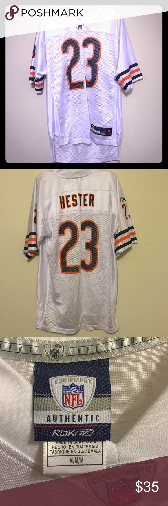 REEBOK CHICAGO BEARS HESTER AUTHENTIC WHITE JERSEY REEBOK CHICAGO BEARS DEVIN HESTER AUTHENTIC WHITE JERSEY Color: White Material: Made of 100% Polyester, Knit/mesh,Officially licensed Size: Medium NFL  Perfect condition  All reasonable offers accepted   Smoke and pet free home Reebok Shirts