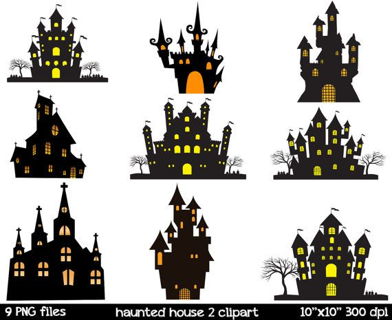 haunted house silhouette clipart haunted mansion by. Black Bedroom Furniture Sets. Home Design Ideas