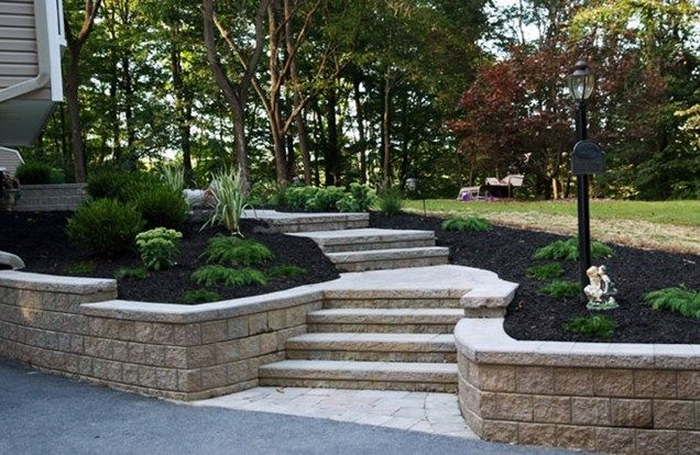 Paver stairs retaining wall entryways steps and for Landscaping front steps