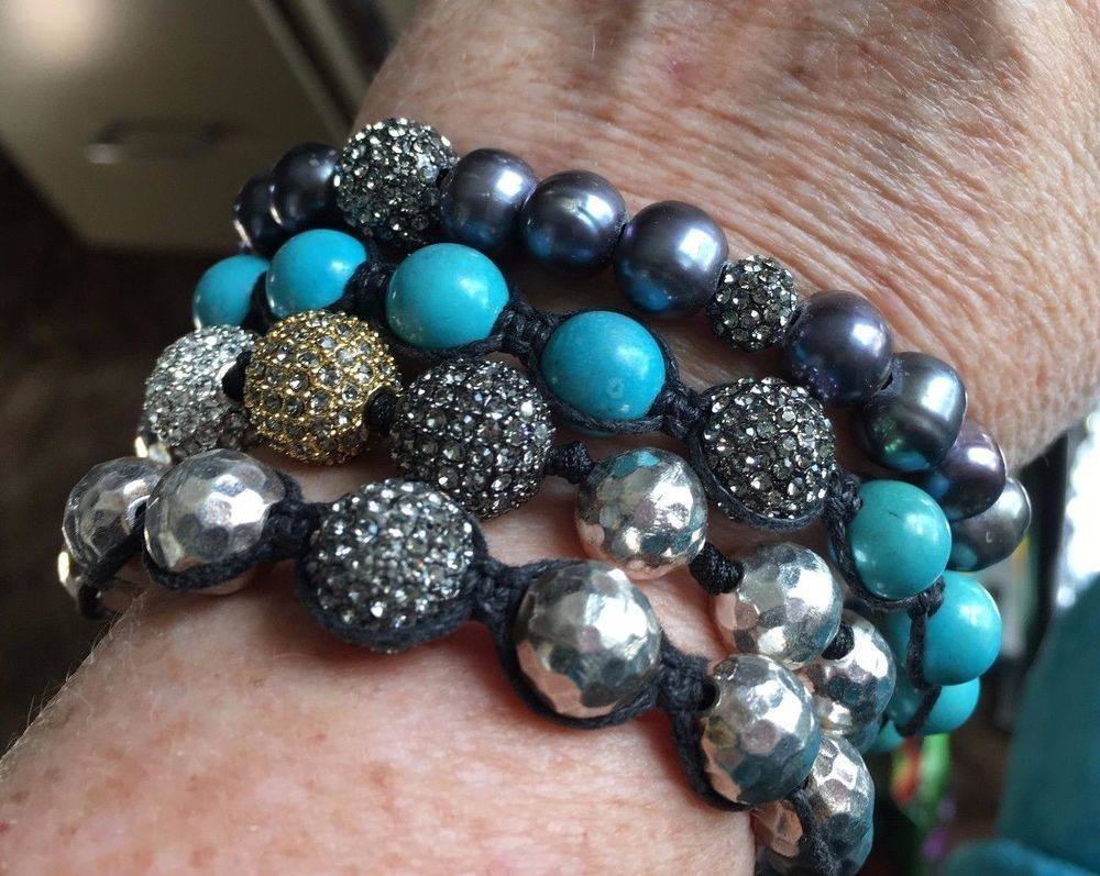 VINTAGE 4 SILVER TONE/TURQUOISE COLORED BEADS BRACELETS   102