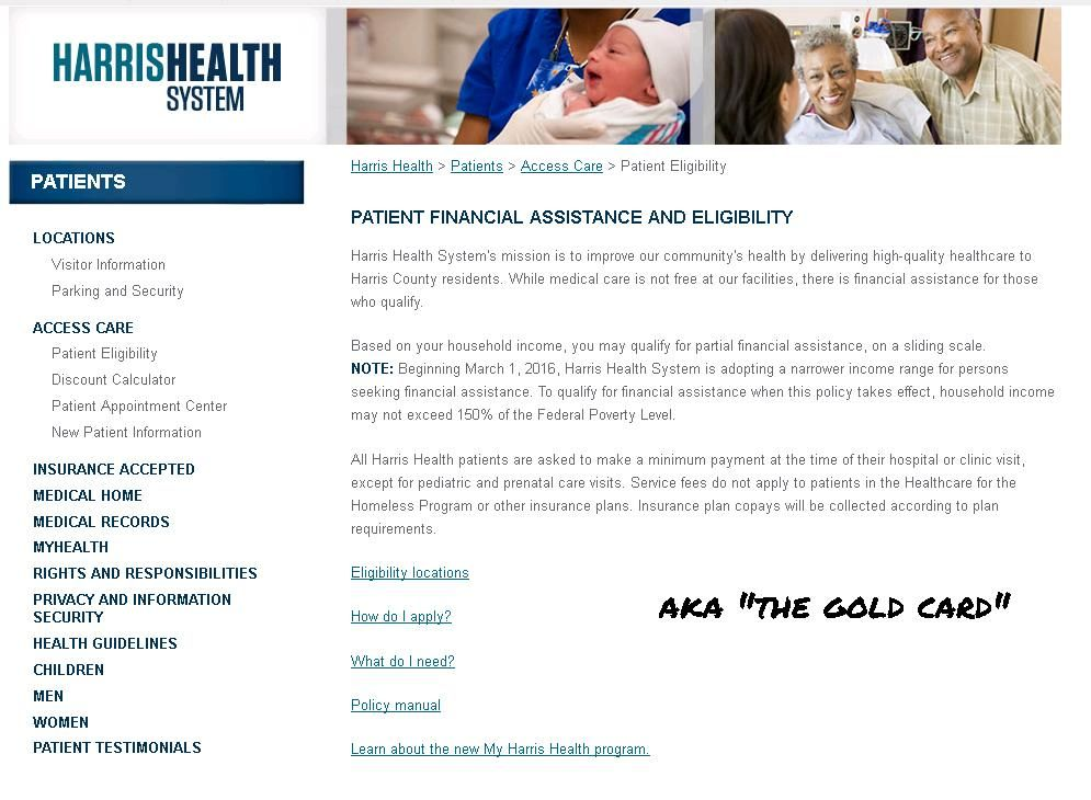 Harris county hospital district gold card assistance