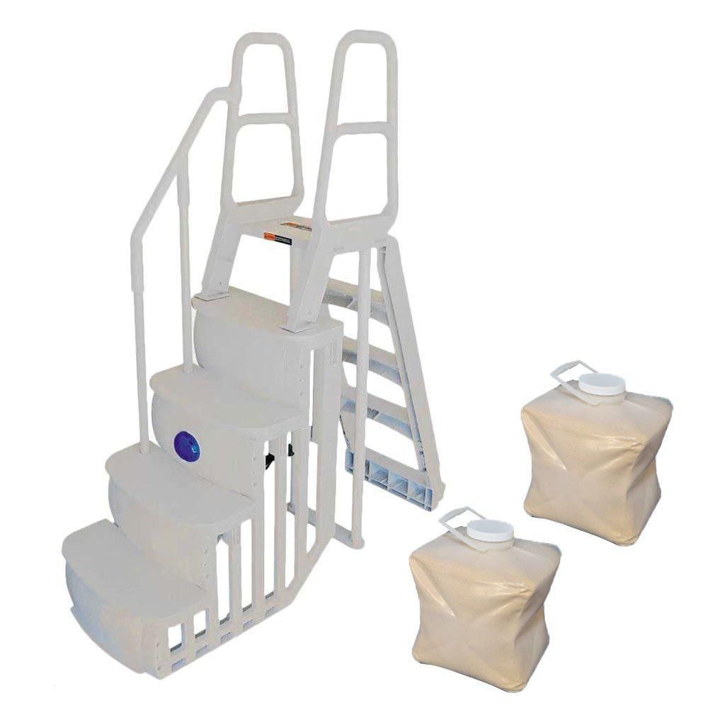 Main Access Step And Ladder System Plus 2 Sand Weights For Above Ground Pool 2 X 200888 The Home Depot Pool Steps Above Ground Pool Steps Above Ground Pool Ladders