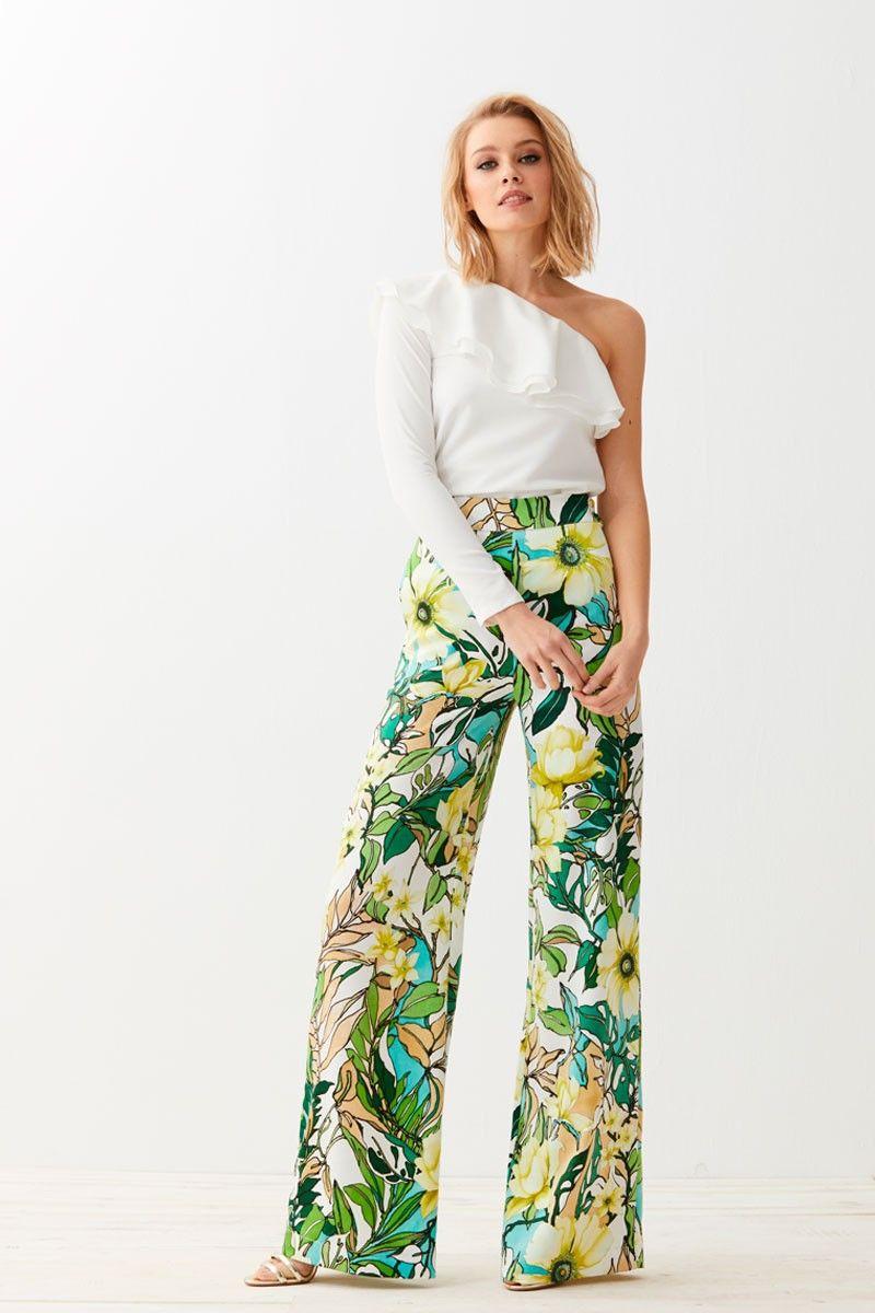 7336cacfe6 comprar online precioso pantalon palazzo confeccionado en piel de angel de  pernera ancha con estampado de flores verdes para invitadas de bodas  comuniones ...